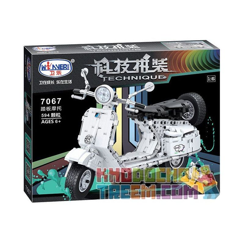 Winner 7067 Xếp hình kiểu Lego TECHNIC The Pedal Motorcycle Pedal Motorcycle 1 6 Xe Máy Vespa 594 khối