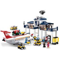 SLUBAN M38-B0373 B0373 0373 M38B0373 38-B0373 Xếp hình kiểu Lego CITY Aerospace World Civil Aviation Maintenance Base Xưởng Bảo Dưỡng Máy Bay Lớn 599 khối