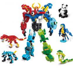 Enlighten 1403 (NOT Lego Creator 3 in 1 Mech God Of War 5 In 1 ) Xếp hình Động Vật Biến Hình Có Thể Kết Hợp Thành Người Máy Khổng Lồ gồm 5 hộp nhỏ lắp được 6 mẫu 809 khối