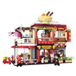 Enlighten 1137 Qman 1137 Xếp hình kiểu Lego ColorfulCity Colorful City Yuexuan Zhong Restaurant Nhà Hàng Trung Quốc 796 khối