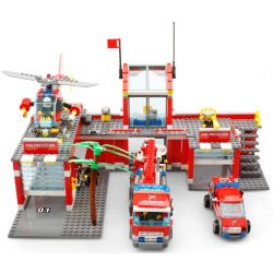 Kazi KY8051 8051 Xếp hình kiểu Lego GEAR LEGO House Girl Key Chain Fire Department Headquarters Trụ Sở Cứu Hỏa 774 khối