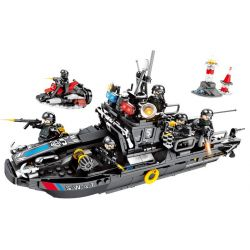 SEMBO 102447 Xếp hình kiểu Lego SWAT SPECIAL FORCE Black Eagle Special Police Quickly Respond To Combat Boat Thuyền Cao Tốc Phản ứng Nhanh 768 khối