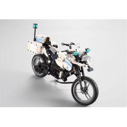 DOUBLEE CADA C51023 51023 Xếp hình kiểu Lego TECHNIC Two-wheeled Police Motorcycle Power Xe Máy Cảnh Sát 539 khối có động cơ pin