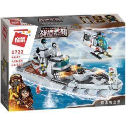 Enlighten 1722 Qman 1722 Xếp hình kiểu Lego TACTICAL ESPIONAGE ACTION Battlefield Series Destroyer Attack Tàu Chiến Trong Game Battlefield 539 khối