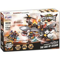 Winner 8038 Xếp hình kiểu Lego THE AGE OF STEAM SteamAge The Shark Steam Aircraft Steampunk Era Steam Shark Plane Tàu Cá Mập 536 khối