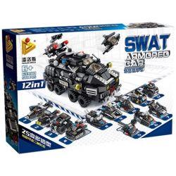 Panlosbrick 633010 (NOT Lego SWAT Special Force Swat Armored Car ) Xếp hình Xe Bọc Thép Swat 12 Trong 1 527 khối