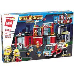 Enlighten 2808 Qman 2808 Xếp hình kiểu Lego FIRE RESCURE Fire Rescue Flame Pioneer Fire Branch Trạm Cứu Hỏa 523 khối