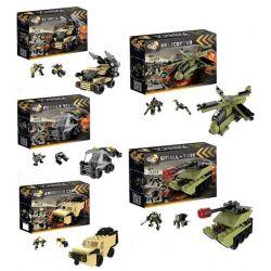 Qizhile 3002 (NOT Lego Military Army Military Equipment 5 In 1 ) Xếp hình Phương Tiện Quân Sự 5 Trong 1: Xe Bọc Thép, Xe Tăng Nhỏ, Xe Bắn Tên Lửa, Trực Thăng, Xe Kĩ Thuật 521 khối
