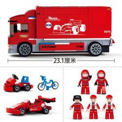 SLUBAN M38-B0375 B0375 0375 M38B0375 38-B0375 Xếp hình kiểu Lego SPEED CHAMPIONS Formula Car F1 Team TRuck Equation Racing II F1 Competition Tour Truck Bộ Lắp Ráp Xe Bus Có Thể Chuyển Thành Trạm Dừng