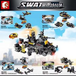 SEMBO 102201 102202 102203 102204 Xếp hình kiểu Lego SWAT SPECIAL FORCE Black Eagle Fit Armored Car Special Police Carrier Combination 4 In 1 Special Police Fighter, Patrol Speedboat, Water Helicopter