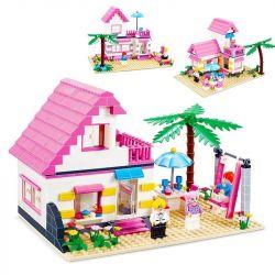 JIE STAR 33002 Xếp hình kiểu Lego FRIENDS Girls' Holiday On A Beach chuyến Nghỉ mát của các cô gái ở biệt thự bên bờ biển 383 khối