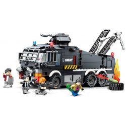 SEMBO 102408 Xếp hình kiểu Lego SWAT SPECIAL FORCE Black Eagle Wi-stable Water Cannon đội đặc Nhiệm Black Hawk 503 khối