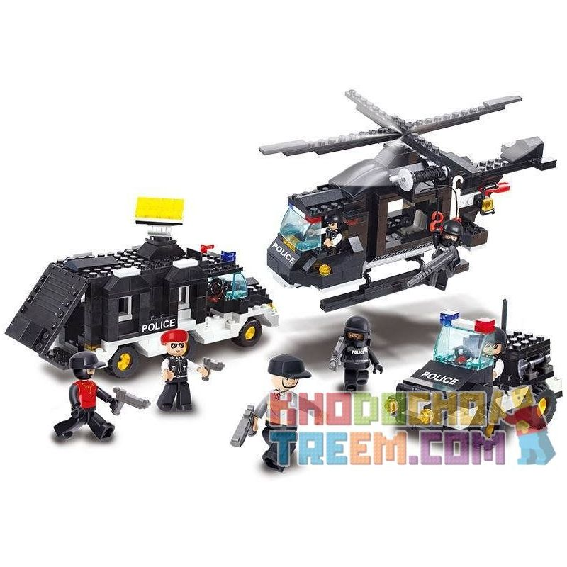 SLUBAN M38-B2100 B2100 2100 M38B2100 38-B2100 Xếp hình kiểu Lego SWAT SPECIAL FORCE Explosion-proof Special Police Motor đội Cảnh Sát Chống Bom 499 khối