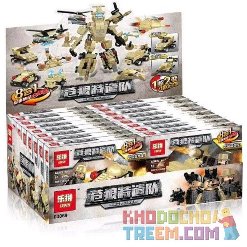 LEPIN 03069 03069A 03069B 03069C 03069D 03069E 03069F 03069G 03069H Xếp hình kiểu Lego MILITARY ARMY 合体大力神 The Wolf Tourism, A Two-changing Eight 8 Xe Quân Sự Kết Hợp Thành Robot gồm 8 hộp nhỏ 491 khố