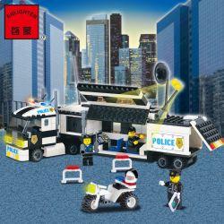 Enlighten 128 Qman 128 Xếp hình kiểu Lego WORLD CITY Surveillance Truck Monitor Truck Explosion-proof Tracking Vehicle Xe Tải Giám Sát Của Cảnh Sát 261 khối
