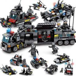 SEMBO 102151 102152 102153 102154 102155 102156 102157 102158 102386 Xếp hình kiểu Lego SWAT SPECIAL FORCE Black Eagle Mobile Command Center Truck 8 Carrying 8 Bộ Nhỏ Kết Hợp gồm 8 hộp nhỏ 716 khối