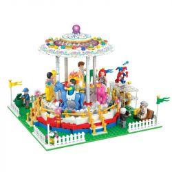 Winner 7034 Xếp hình kiểu Lego City Modern Paradise Rotating Trojan Trò Chơi Ngựa Gỗ Xoay Vòng 705 khối