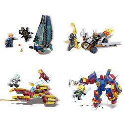 Sheng Yuan 1045 (NOT Lego Marvel Super Heroes Heroes Assemble ) Xếp hình Phi Thuyền Người Máy Người Nhện, Người Sắt, Đội Trưởng Mỹ, Cơn Lốc Hủy Diệt gồm 4 hộp nhỏ 695 khối