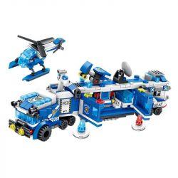 Panlosbrick 681001 (NOT Lego Police Police ) Xếp hình 8 Phương Tiện Nhỏ Kết Hợp Thành Xe Tải Chỉ Huy gồm 8 hộp nhỏ 694 khối