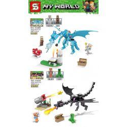 SHENG YUAN SY 1049 1049A 1049B Xếp hình kiểu Lego MINECRAFT MY WORLD Dragon 2 Too Dragon, The End Of The Dragon Rồng Xanh Và Rồng đen gồm 2 hộp nhỏ 693 khối