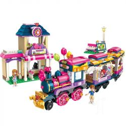 Enlighten 2015 (NOT Lego Cherry Colorful Holiday Train Railway Station ) Xếp hình Đoàn Tàu Sắc Màu 690 khối
