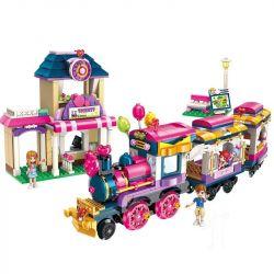 Enlighten 2015 Qman 2015 Xếp hình kiểu Lego CHERRY Colorful Holiday Happy Cruise Small Train Đoàn Tàu Sắc Màu 690 khối
