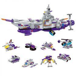 Enlighten 1402 (NOT Lego Star wars Warship ) Xếp hình 8 Phi Thuyền Nhỏ Kết Hợp Thành Phi Thuyền Lớn gồm 8 hộp nhỏ lắp được 9 mẫu 683 khối