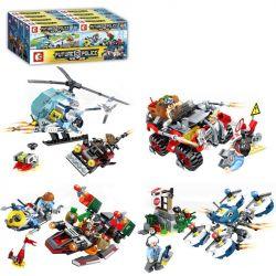 Sembo SD9346 SD9347 SD9348 SD9349 (NOT Lego Future Police Future Police ) Xếp hình Cảnh Sát 4 Trong 1 gồm 4 hộp nhỏ 632 khối