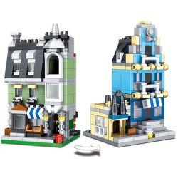 LELE 30017 Xếp hình kiểu Lego MINI MODULAR Mini Green Grocery Mini European Market Cửa Hàng Tạp Hóa Mini Chợ Châu Âu Mini 450 khối