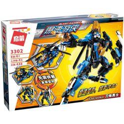 Enlighten 3302 Qman 3302 Xếp hình kiểu Lego TRANSFORMERS Blast Ranger Blade Warrior Ramadama Người Máy Biến Hình Thành Trực Thăng lắp được 2 mẫu 448 khối