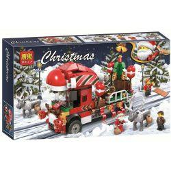 Jemlou 20061 Bela 11083 (NOT Lego Christmas Christmas Truck ) Xếp hình Xe Ô Tô Tải Chở Đoàn Giáng Sinh 375 khối