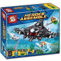 Sheng Yuan 1170 SY1170 Bela 11024 (NOT Lego DC Comics Super Heroes 76095 Black Manta Strike ) Xếp hình Aquaman Cuộc Tấn Công Tàu Ngầm Cá Đuối 235 khối