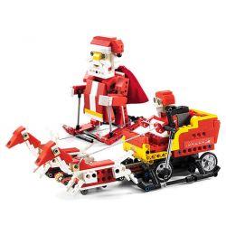 DOUBLEE CADA C51034 51034 Xếp hình kiểu Lego TECHNIC Santa、Snowmobile Santa, Christmas Sled Truck Smart Sound And Light Sensing Two-in-one Toys Ông Già Noel Trượt Tuyết Lắp được 2 Mẫu Có động Cơ Pin C