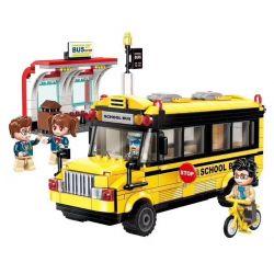 Enlighten 1136 Qman 1136 Xếp hình kiểu Lego ColorfulCity Colorful City Enlightened Primary School Xe Bus đưa đón Học Sinh 440 khối