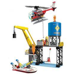 Enlighten 2806 Qman 2806 Xếp hình kiểu Lego FIRE RESCURE FireRescue Flame Pioneer Sea Drilling Crisis Cuộc Chữa Cháy Khoang Chứa Dầu Trên Biển 321 khối