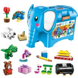 Enlighten 2903 Qman 2903 Xếp hình kiểu Lego CLASSIC Build N Learn Elephant Leology Series Companion Icon Hộp Chú Voi Con Học Thức 1104 khối