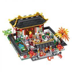 PanlosBrick 610001 Panlos Brick 610001 Xếp hình kiểu Lego MINI MODULAR The Spring Festival Chinese Wind Year Tết Cổ Truyền Đông Vui 1566 khối