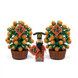 PanlosBrick 601000 Panlos Brick 601000 Xếp hình kiểu Lego SEASONAL Kumquat Tree With God Of Wealth Thần Tài Và Cây Quất Ngày Tết 215 khối
