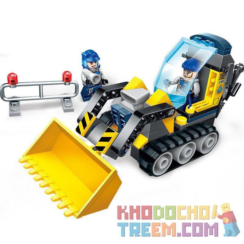 Enlighten 2402 Qman 2402 Xếp hình kiểu Lego KYANITE SQUAD Kyanite Squad Rock Bulldozer Slim Squad Toprier Number Xe Cần Cẩu 114 khối