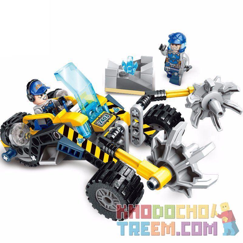Enlighten 2403 Qman 2403 Xếp hình kiểu Lego KYANITE SQUAD Kyanite Squad Stone Chopper Slim Squad Gravel Opening Xe Chopper Nghiền đá 128 khối