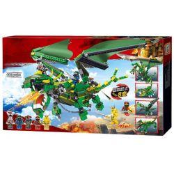 LELE 31157 Xếp hình kiểu THE LEGO NINJAGO MOVIE Ninja Masters Of Spinjitzu Variety Of Mechanical Warfare Trận Chiến Của Rồng Xanh Với Tên ác Ma 8 Trong 1 660 khối