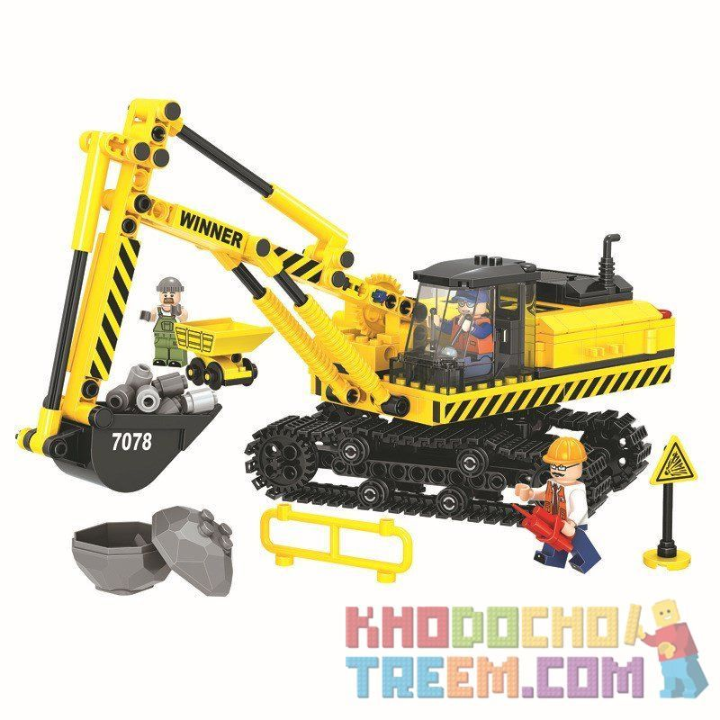 Winner 7078 Xếp hình kiểu Lego CITY Little Engineers Small Engineer Excavator Máy Xúc 537 khối