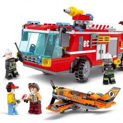 SEMBO 603039 Xếp hình kiểu Lego FIRE RESCURE Fire Frontline Fire Front Line Airport Fire Truck Xe Cứu Hỏa Sân Bay 580 khối