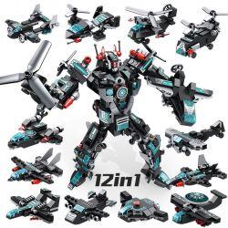PanlosBrick 633013 Panlos Brick 633013 Xếp hình kiểu Lego TRANSFORMERS Super Poineer Robot Pioneer Robot 12in1 Machine Deformation Robot Robot Biến Hình 12 Phương Tiện Quân Sự 577 khối