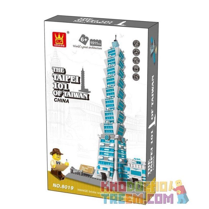 Wange 8019 5221 (NOT Lego Architecture The Taipei 101 Of Taiwan ) Xếp hình Trung Tâm Tài Chính Thế Giới Đài Bắc gồm 2 hộp nhỏ 1511 khối