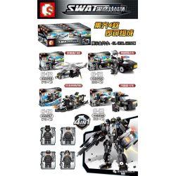 Sembo 102255 102256 102257 102258 (NOT Lego SWAT Special Force Swat ) Xếp hình Robot Đặc Nhiệm 4 Trong 1 gồm 8 hộp nhỏ lắp được 5 mẫu 763 khối