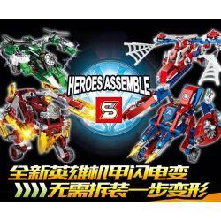 Sheng Yuan 7045 (NOT Lego Marvel Super Heroes Heroes Assemble ) Xếp hình Phi Thuyền Biến Hình Robot Của Người Nhện, Người Khổng Lồ Xanh, Đội Trưởng Mỹ, Người Sắt gồm 4 hộp nhỏ lắp được 8 mẫu 720 khối