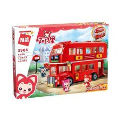 Enlighten 3904 Qman 3904 Xếp hình kiểu Lego ALI'S SMALL DREAMY TOWN Raccoon Huancheng Double-layer Bus Xe Bus 2 Tầng 606 khối