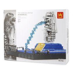 WANGE 4218 Xếp hình kiểu Lego ARCHITECTURE The Merlion Statye Singapore Singapore Fishtail Statue Tượng Sư Tử Cá Singapore 503 khối