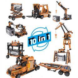 DOUBLEE CADA C71002 71002 Xếp hình kiểu Lego TECHNIC Mechanical Work Laboratory Pier Construction Machinery 10 In 1 Máy Móc Vận Tải 10 Trong 1 Có Cảm Biến Chuyển động 634 khối có động cơ pin